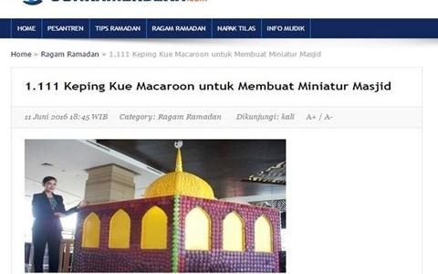 Keping Kue Macaroon untuk Membuat Miniatur Masjid