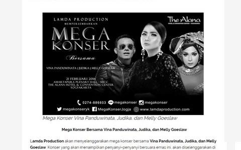 Mega Konser Bersama Vina Panduwinata, Judika, dan Melly Goeslaw