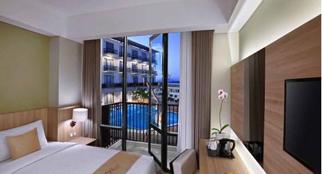 Unique room with pool view in modern stylish classy hotel in mataram lombok