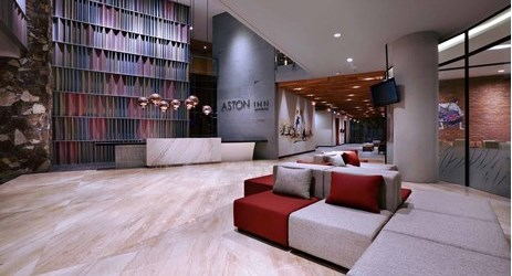 Open concept lobby of modern stylish hotel in mataram lombok