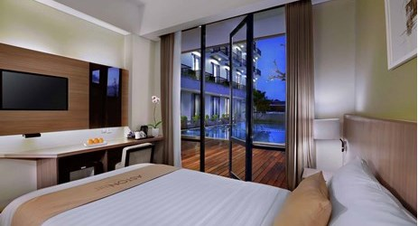 Unique room with pool access in modern stylish classy hotel in mataram lombok