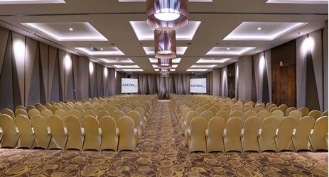 A large indoor ballroom to host business meeting, workshop, training or wedding, birthday party or any reception in in modern stylish classy hotel in mataram lombok