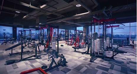 A perfect place to work out and stay healthy with the best view of pool and the city .