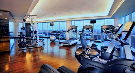 Fully glassed wall fitness center heading the Ocean and city view complete with fully equipped fitness centre, which hosts the highest standard facilities in makassar