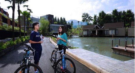 Bike riding is one of many outdoor activities which could be enjoyed while staying in the best hotel with exclusive mountain view in Sentul area