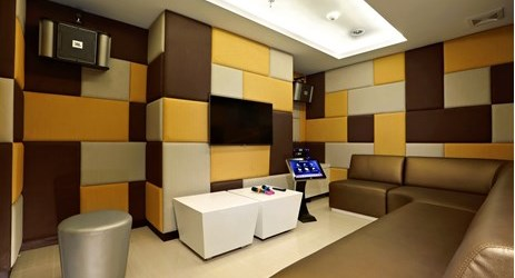 Modern karaoke room for having fun or after party session while staying in the best hotel with exclusive mountain view in Sentul area