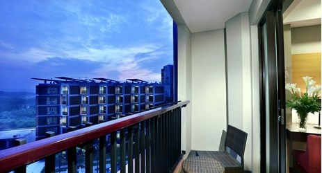 Private balcony to enjoy the beautiful mountain view and cool breeze when staying in the best hotel in Sentul area
