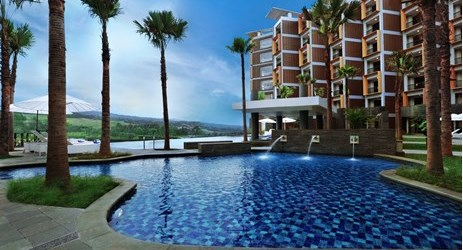 Refreshing outdoor swimming pool with exclusive mountain view and lush greenery of Sentul area
