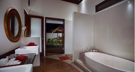 A nice appointed bathroom in a huge luxurious room with private pool, gazebo and living area by the pool of a beautiful resort to stay when visit gili trawangan island lombok for holiday