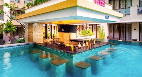 refreshing pool bar to chill out and relax in swimming pool kuta bali