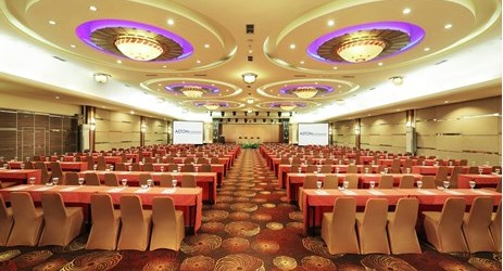 This classroom meeting setup at Kalimantan Ballroom can host up to 500 people at one event