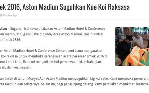 Sambut Imlek 2016, Aston Madiun Suguhkan Kue Koi Raksasa