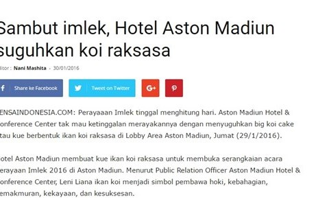 Sambut imlek, Hotel Aston Madiun suguhkan koi raksasa