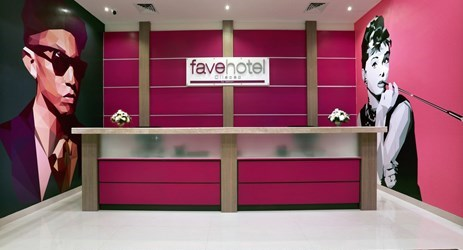 A modern lobby, with retro style, fresh look and large area for budget hotel in Cilacap