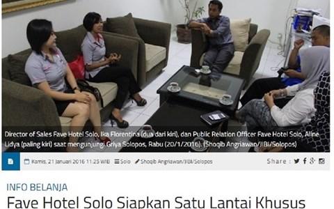 Fave Hotel Solo Siapkan Satu Lantai Khusus Perempuan