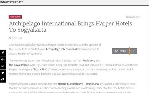 Archipelago International Brings Harper Hotels To Yogyakarta